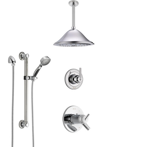 Delta Trinsic Chrome Shower System with Dual Thermostatic Control Handle, Diverter, Ceiling Mount Showerhead, and Hand Shower with Grab Bar SS17T5924