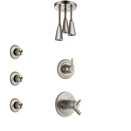 Delta Trinsic Dual Thermostatic Control Handle Stainless Steel Finish Shower System, Diverter, Ceiling Mount Showerhead, and 3 Body Sprays SS17T592SS3