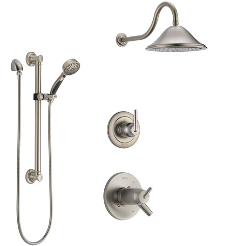 Delta Trinsic Dual Thermostatic Control Handle Stainless Steel Finish Shower System, Diverter, Showerhead, and Hand Shower with Grab Bar SS17T592SS5