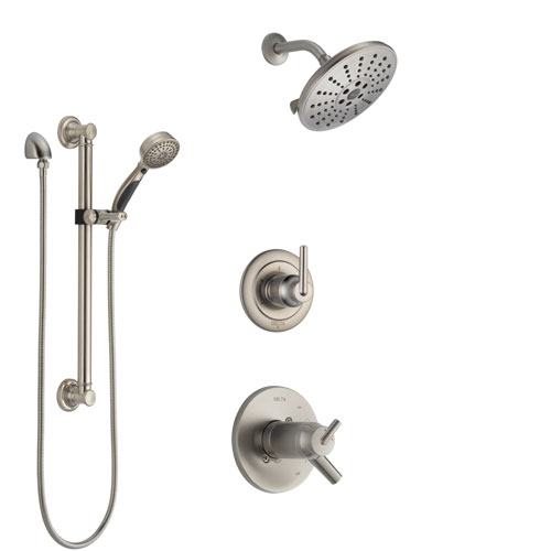 Delta Trinsic Dual Thermostatic Control Handle Stainless Steel Finish Shower System, Diverter, Showerhead, and Hand Shower with Grab Bar SS17T592SS6