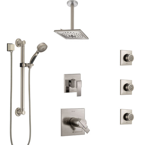 Delta Ara Dual Thermostatic Control Stainless Steel Finish Shower System, Diverter, Ceiling Showerhead, 3 Body Sprays, Grab Bar Hand Spray SS17T671SS2