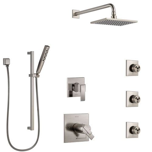 Delta Ara Dual Thermostatic Control Stainless Steel Finish Shower System, 6-Setting Diverter, Showerhead, 3 Body Sprays, and Hand Shower SS17T671SS6