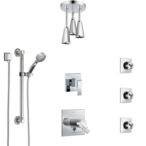 Delta Ara Chrome Shower System with Dual Thermostatic Control, Diverter, Ceiling Mount Showerhead, 3 Body Sprays, and Grab Bar Hand Shower SS17T6723