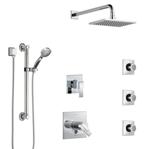 Delta Ara Chrome Shower System with Dual Thermostatic Control, 6-Setting Diverter, Showerhead, 3 Body Sprays, and Hand Shower with Grab Bar SS17T6727