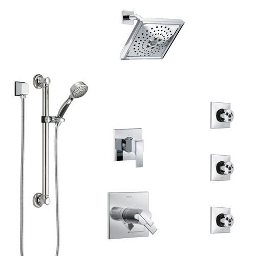 Delta Ara Chrome Shower System with Dual Thermostatic Control, 6-Setting Diverter, Showerhead, 3 Body Sprays, and Hand Shower with Grab Bar SS17T6728