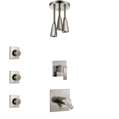 Delta Ara Dual Thermostatic Control Handle Stainless Steel Finish Shower System, Diverter, Ceiling Mount Showerhead, and 3 Body Sprays SS17T672SS5