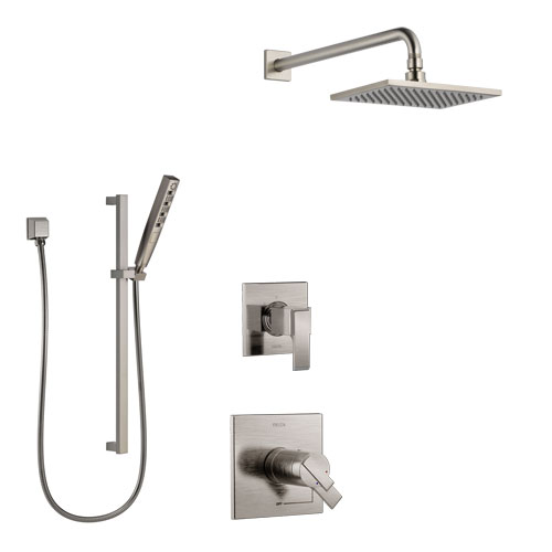 Delta Ara Dual Thermostatic Control Handle Stainless Steel Finish Shower System, Diverter, Showerhead, and Hand Shower with Slidebar SS17T672SS7