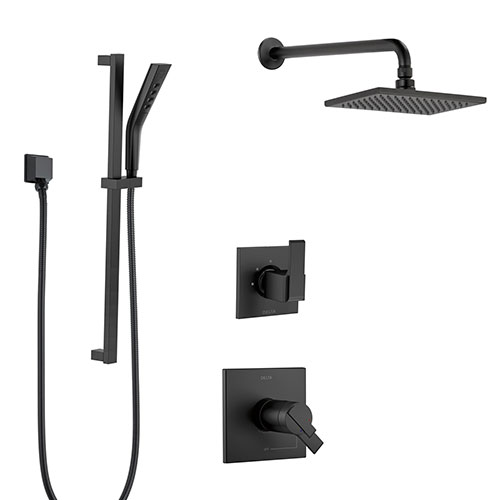Delta Ara Matte Black Finish Modern Thermostatic Shower System with Large Wall Mounted Rain Showerhead and Hand Shower on Slidebar SS17T673BL4