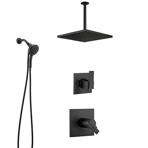 Delta Ara Matte Black Modern Square Thermostatic Shower System with Large Rain Ceiling Showerhead and SureDock Detachable Hand Spray SS17T673BL8