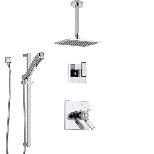 Delta Arzo Chrome Finish Shower System with Dual Thermostatic Control Handle, Diverter, Ceiling Mount Showerhead, and Hand Shower SS17T8615