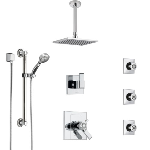 Delta Arzo Chrome Shower System with Dual Thermostatic Control, Diverter, Ceiling Mount Showerhead, 3 Body Sprays, and Grab Bar Hand Shower SS17T8621
