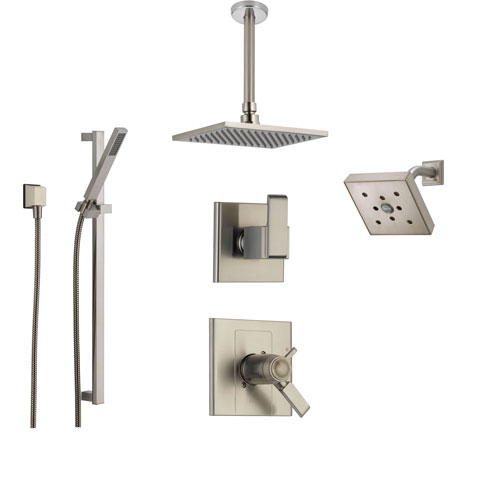 Delta Arzo Stainless Steel Shower System with Thermostatic Shower Handle, 6-setting Diverter, Modern Square Ceiling Mount Showerhead, Handheld Shower, and Wall Mount Showerhead SS17T8691SS