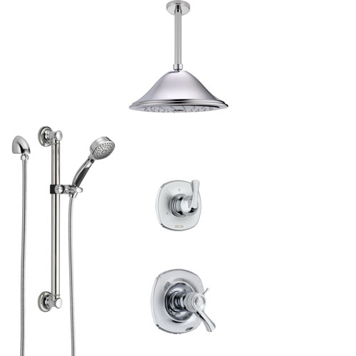 Delta Addison Chrome Shower System with Dual Thermostatic Control Handle, Diverter, Ceiling Mount Showerhead, and Hand Shower with Grab Bar SS17T9212