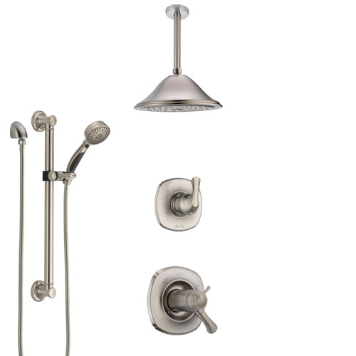 Delta Addison Dual Thermostatic Control Stainless Steel Finish Shower System, Diverter, Ceiling Mount Showerhead, and Grab Bar Hand Shower SS17T921SS6