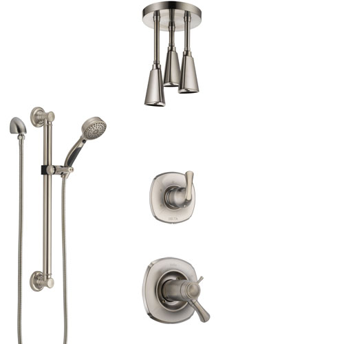 Delta Addison Dual Thermostatic Control Stainless Steel Finish Shower System, Diverter, Ceiling Mount Showerhead, and Grab Bar Hand Shower SS17T921SS7