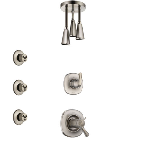 Delta Addison Dual Thermostatic Control Handle Stainless Steel Finish Shower System, Diverter, Ceiling Mount Showerhead, and 3 Body Sprays SS17T921SS8