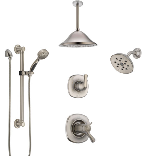 Delta Addison Dual Thermostatic Control Stainless Steel Finish Shower System with Showerhead, Ceiling Showerhead, Grab Bar Hand Spray SS17T922SS3
