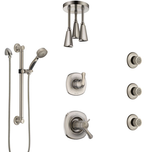 Delta Addison Dual Thermostatic Control Stainless Steel Finish Shower System with Ceiling Showerhead, 3 Body Jets, Grab Bar Hand Spray SS17T922SS5