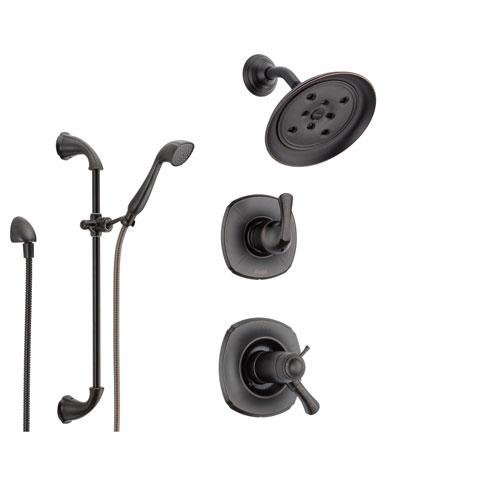 delta addison venetian bronze shower system with shower handle 3setting diverter showerhead and handheld shower ss17t9283rb