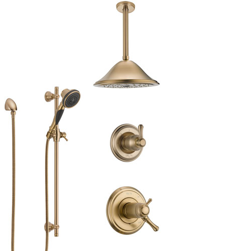 Delta Cassidy Champagne Bronze Shower System with Dual Thermostatic Control Handle, Diverter, Ceiling Mount Showerhead, and Hand Shower SS17T971CZ5