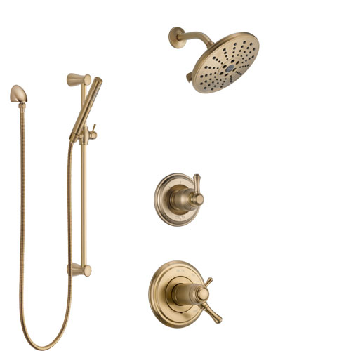 Delta Cassidy Champagne Bronze Shower System with Dual Thermostatic Control Handle, Diverter, Showerhead, and Hand Shower with Slidebar SS17T971CZ7
