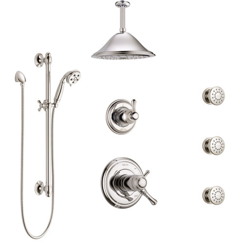 Delta Cassidy Polished Nickel Shower System with Dual Thermostatic Control, Diverter, Ceiling Showerhead, 3 Body Sprays, and Hand Shower SS17T971PN1