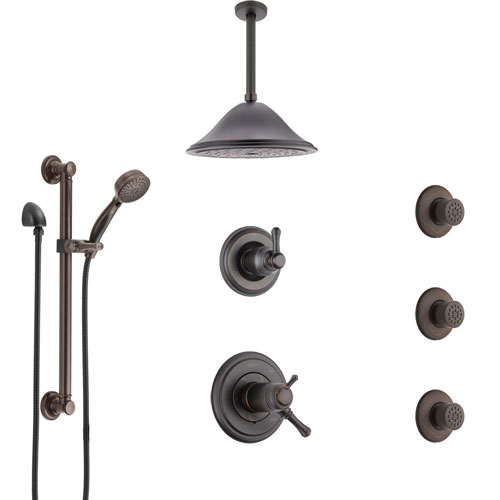 Delta Cassidy Venetian Bronze Dual Thermostatic Control Shower System, Diverter, Ceiling Showerhead, 3 Body Sprays, Grab Bar Hand Spray SS17T971RB6