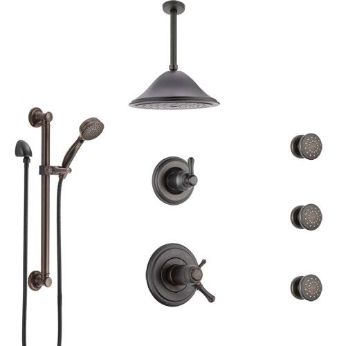 Delta Cassidy Venetian Bronze Dual Thermostatic Control Shower System, Diverter, Ceiling Showerhead, 3 Body Sprays, Grab Bar Hand Spray SS17T971RB7