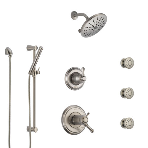 Delta Cassidy Dual Thermostatic Control Stainless Steel Finish Shower System, Diverter, Showerhead, 3 Body Sprays, and Hand Shower SS17T971SS8