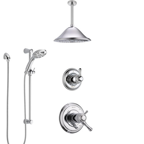 Delta Cassidy Chrome Finish Shower System with Dual Thermostatic Control Handle, Diverter, Ceiling Mount Showerhead, and Temp2O Hand Shower SS17T9724
