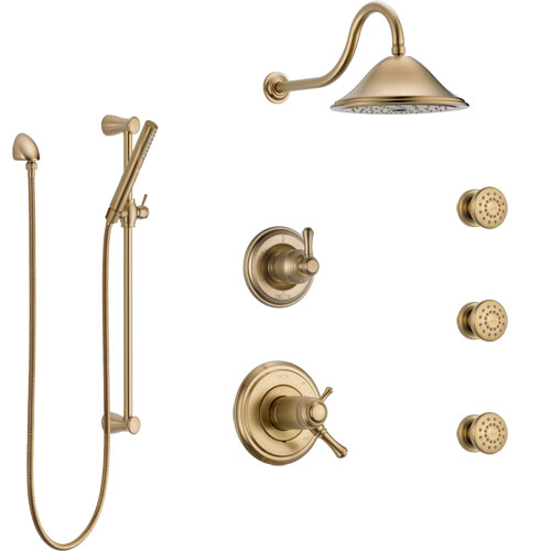 Delta Cassidy Champagne Bronze Shower System with Dual Thermostatic Control, Diverter, Showerhead, 3 Body Sprays, and Hand Shower SS17T972CZ2