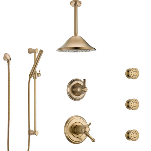 Delta Cassidy Champagne Bronze Shower System with Dual Thermostatic Control, Diverter, Ceiling Showerhead, 3 Body Sprays, and Hand Shower SS17T972CZ3