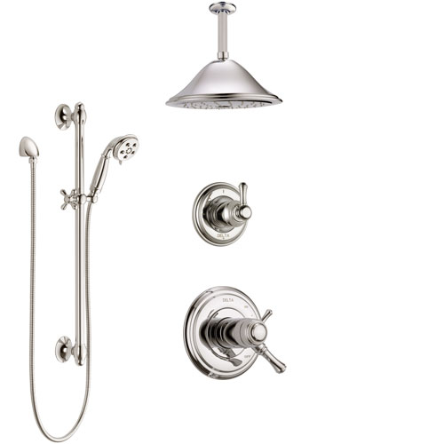 Delta Cassidy Polished Nickel Shower System with Dual Thermostatic Control Handle, Diverter, Ceiling Mount Showerhead, and Hand Shower SS17T972PN3