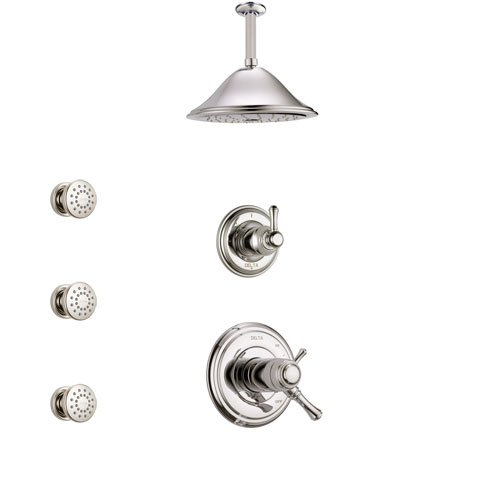 Delta Cassidy Polished Nickel Shower System with Dual Thermostatic Control Handle, Diverter, Ceiling Mount Showerhead, and 3 Body Sprays SS17T972PN4