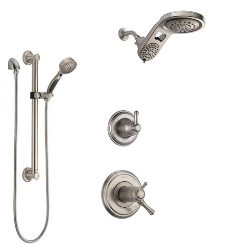 Delta Cassidy Dual Thermostatic Control Stainless Steel Finish Shower System, Diverter, Dual Showerhead, and Hand Shower with Grab Bar SS17T972SS7