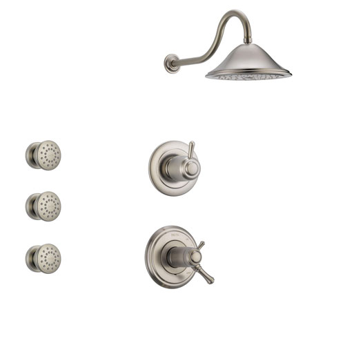 Delta Cassidy Stainless Steel Shower System with Thermostatic Shower Handle, 3-setting Diverter, Large Rain Showerhead, and 3 Body Sprays SS17T9781SS