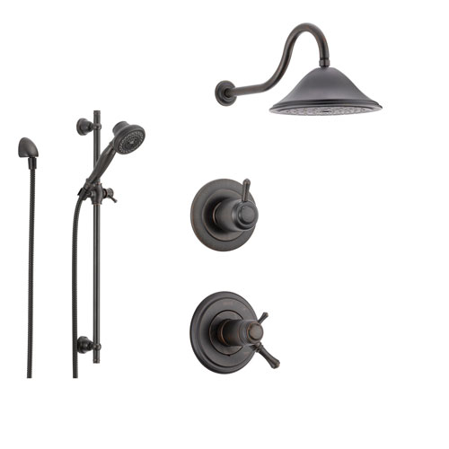Delta Cassidy Venetian Bronze Shower System with Thermostatic Shower Handle, 3-setting Diverter, Large Rain Shower Head, and Handheld Shower SS17T9782RB
