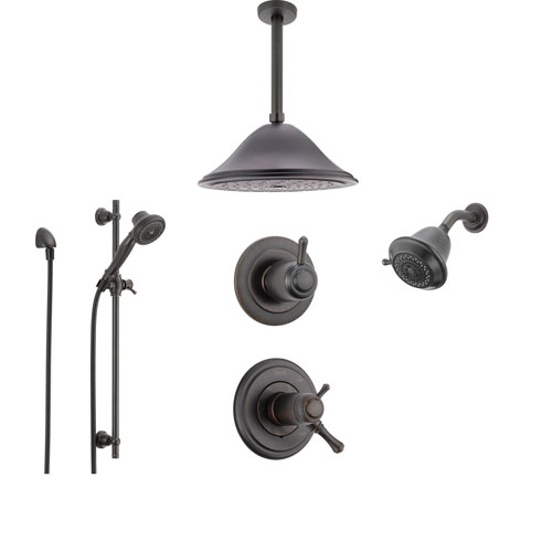 Delta Cassidy Venetian Bronze Shower System with Thermostatic Shower Handle, 6-setting Diverter, Large Rain Ceiling Mount Showerhead, Wall Mount Showerhead, and Handheld Shower SS17T9793RB