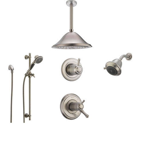 Delta Cassidy Stainless Steel Shower System with Thermostatic Shower Handle, 6-setting Diverter, Large Ceiling Mount Rain Showerhead, Handheld Shower, and Wallmount Showerhead SS17T9793SS