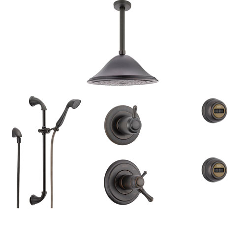 Delta Cassidy Venetian Bronze Shower System with Thermostatic Shower Handle, 6-setting Diverter, Large Rain Showerhead, Handheld Shower, and 2 Body Sprays SS17T9795RB