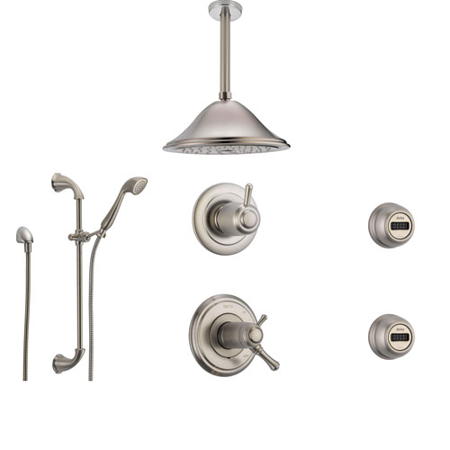 Delta Cassidy Stainless Steel Shower System with Thermostatic Shower Handle, 6-setting Diverter, Large Ceiling Mount Rain Showerhead, Handheld Shower, and 2 Body Sprays SS17T9795SS