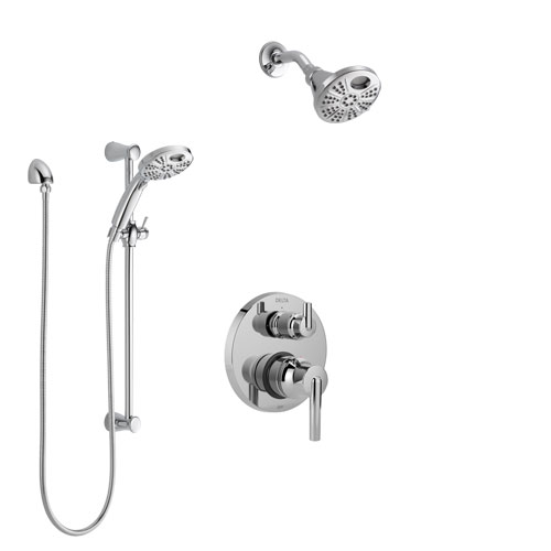 Delta Trinsic Chrome Finish Shower System with Control, Integrated 3-Setting Diverter, Temp2O Showerhead, and Hand Shower with Slidebar SS2485911