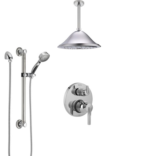 Delta Trinsic Chrome Finish Shower System with Control Handle, Integrated Diverter, Ceiling Mount Showerhead, and Hand Shower with Grab Bar SS248591