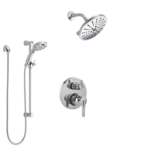 Delta Trinsic Chrome Finish Shower System with Control Handle, Integrated 3-Setting Diverter, Showerhead, & Temp2O Hand Shower with Slidebar SS248597