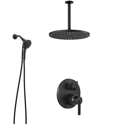 Delta Trinsic Matte Black Finish Shower System with Integrated Diverter, Modern Rain Ceiling Mount Showerhead, and SureDock Hand Sprayer SS24859BL8