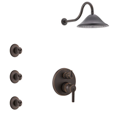 Delta Trinsic Venetian Bronze Finish Shower System with Control Handle, Integrated 3-Setting Diverter, Showerhead, and 3 Body Sprays SS24859RB12