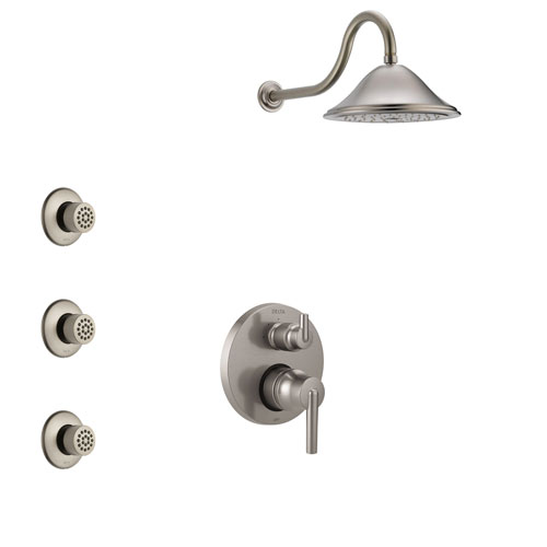 Delta Trinsic Stainless Steel Finish Shower System with Control Handle, Integrated 3-Setting Diverter, Showerhead, and 3 Body Sprays SS24859SS10