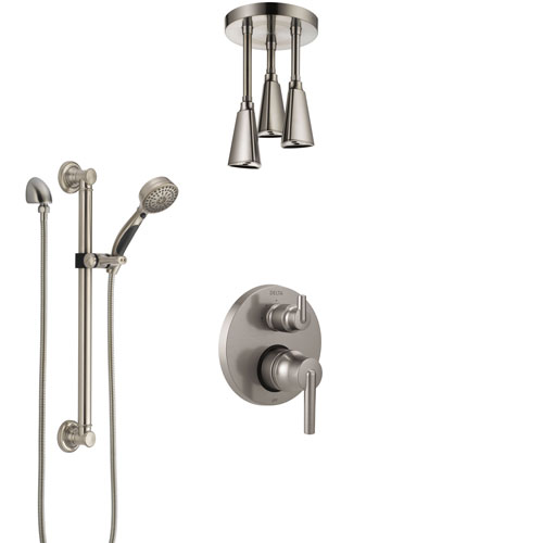 Delta Trinsic Stainless Steel Finish Shower System with Control Handle, Integrated Diverter, Ceiling Showerhead, and Grab Bar Hand Shower SS24859SS1