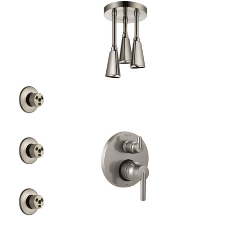 Delta Trinsic Stainless Steel Finish Shower System with Control Handle, Integrated Diverter, Ceiling Mount Showerhead, and 3 Body Sprays SS24859SS2