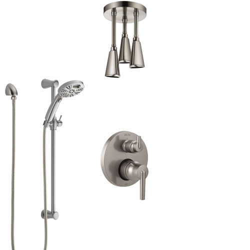 Delta Trinsic Stainless Steel Finish Shower System with Control Handle, Integrated Diverter, Ceiling Mount Showerhead, & Temp2O Hand Shower SS24859SS3